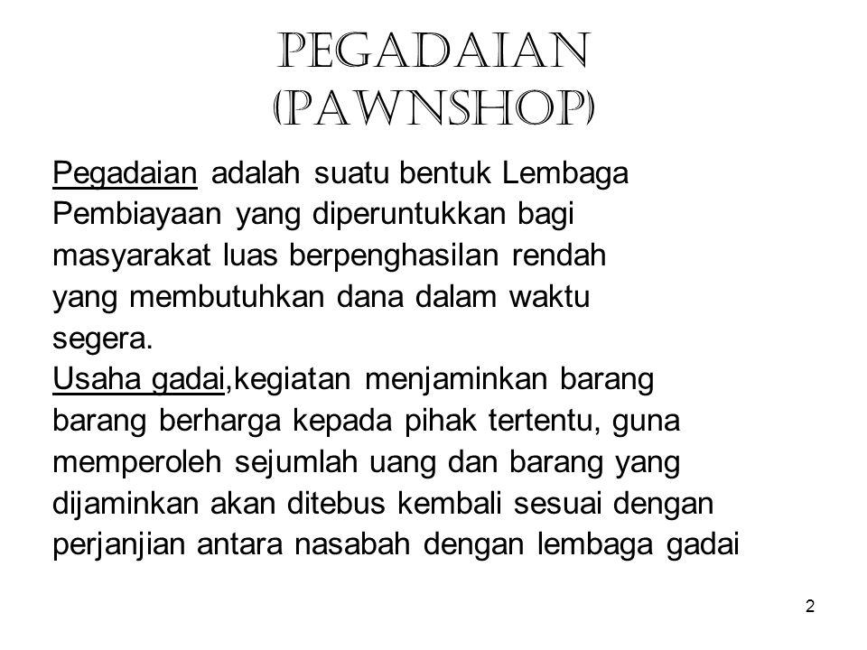 PEGADAIAN (PAWNSHOP) Pegadaian adalah suatu bentuk Lembaga