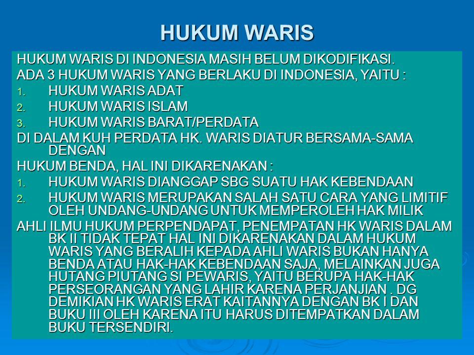 HUKUM WARIS HUKUM WARIS DI INDONESIA MASIH BELUM DIKODIFIKASI.