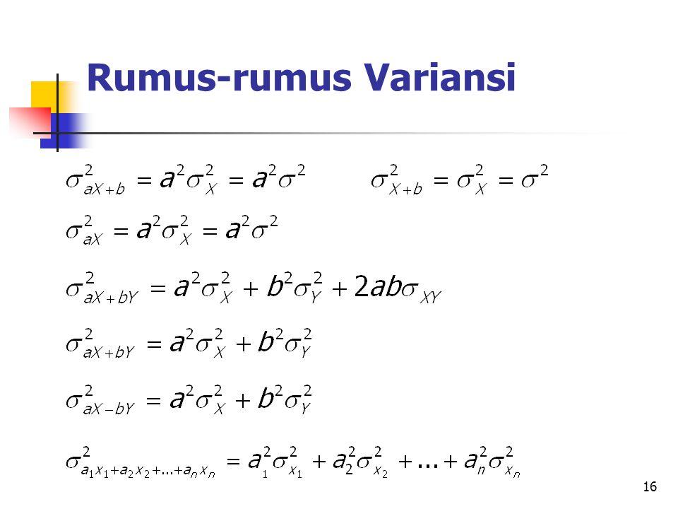 Rumus-rumus Variansi