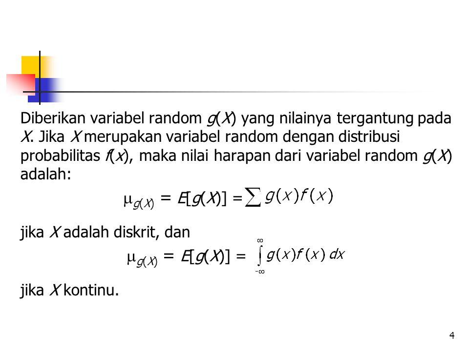 Diberikan variabel random g(X) yang nilainya tergantung pada X