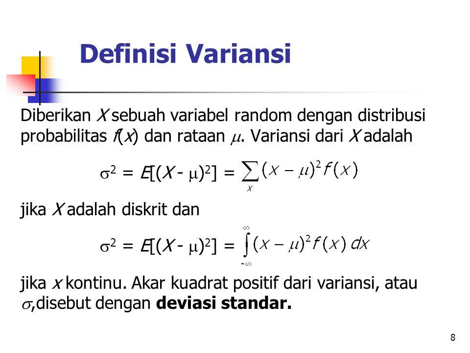 Definisi Variansi Diberikan X sebuah variabel random dengan distribusi probabilitas f(x) dan rataan . Variansi dari X adalah.
