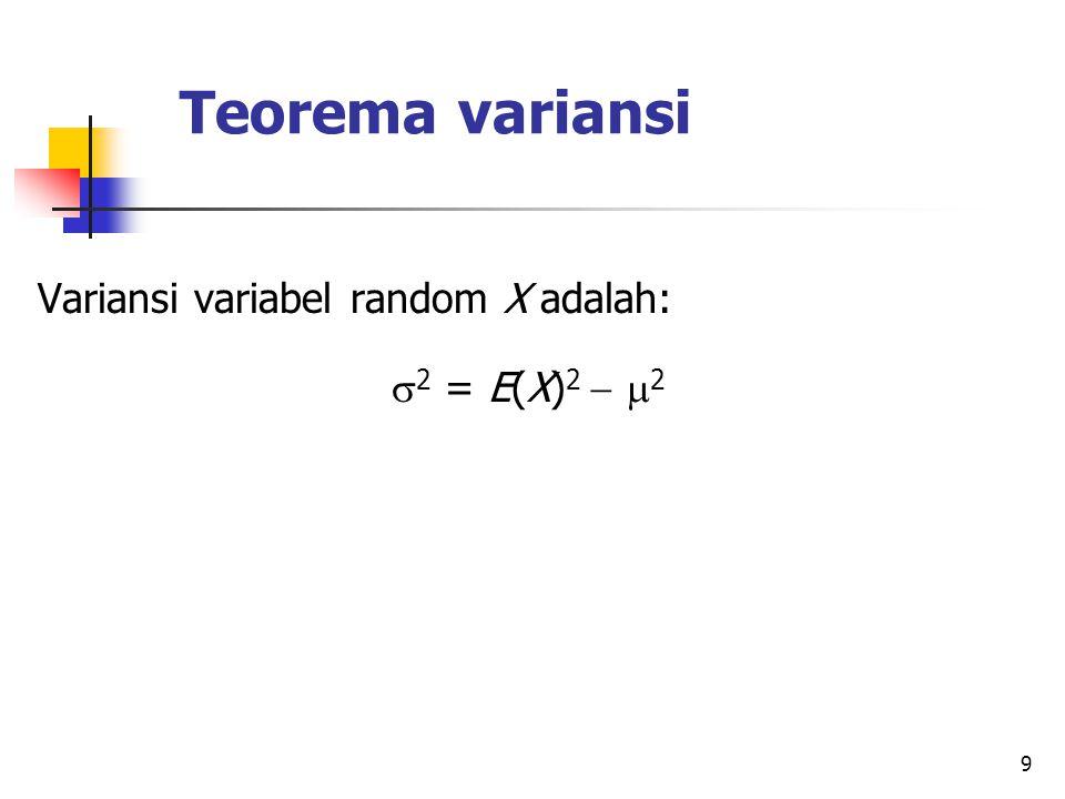 Teorema variansi Variansi variabel random X adalah: 2 = E(X)2  2