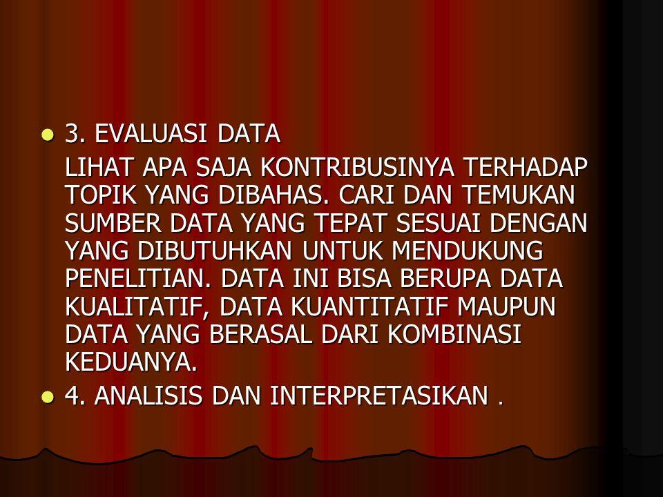 3. EVALUASI DATA