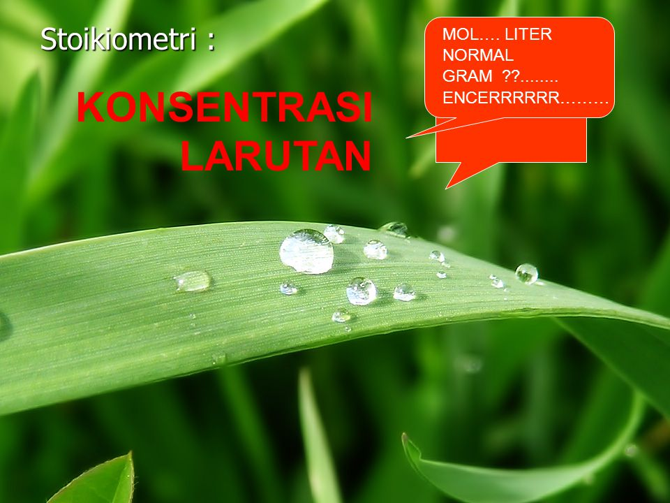 KONSENTRASI LARUTAN Stoikiometri : MOL…. LITER NORMAL GRAM ........