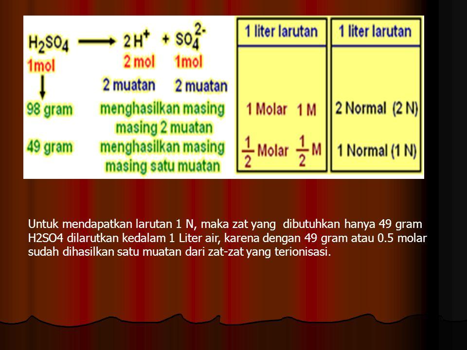 Untuk mendapatkan larutan 1 N, maka zat yang dibutuhkan hanya 49 gram H2SO4 dilarutkan kedalam 1 Liter air, karena dengan 49 gram atau 0.5 molar sudah dihasilkan satu muatan dari zat-zat yang terionisasi.