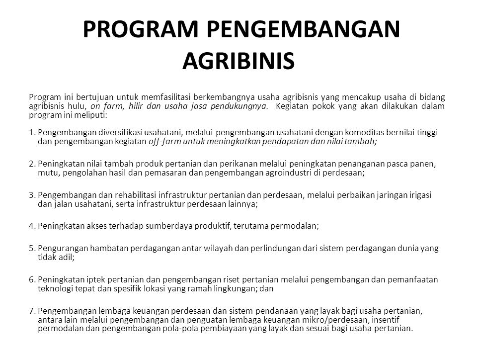 PROGRAM PENGEMBANGAN AGRIBINIS