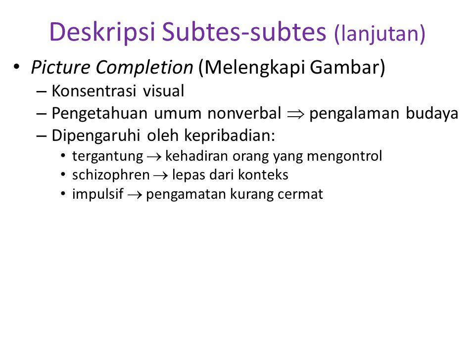 Deskripsi Subtes-subtes (lanjutan)