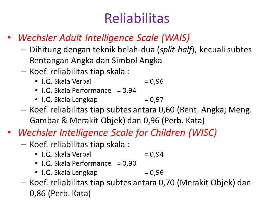 Reliabilitas Wechsler Adult Intelligence Scale (WAIS)