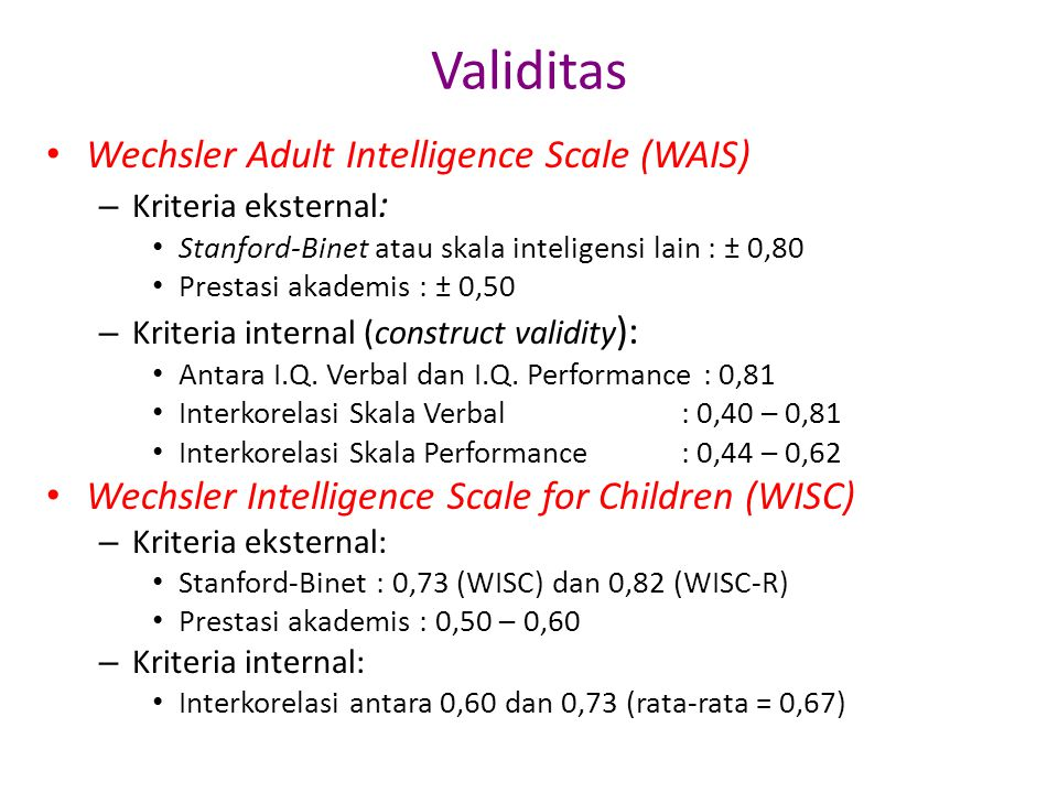 Validitas Wechsler Adult Intelligence Scale (WAIS)