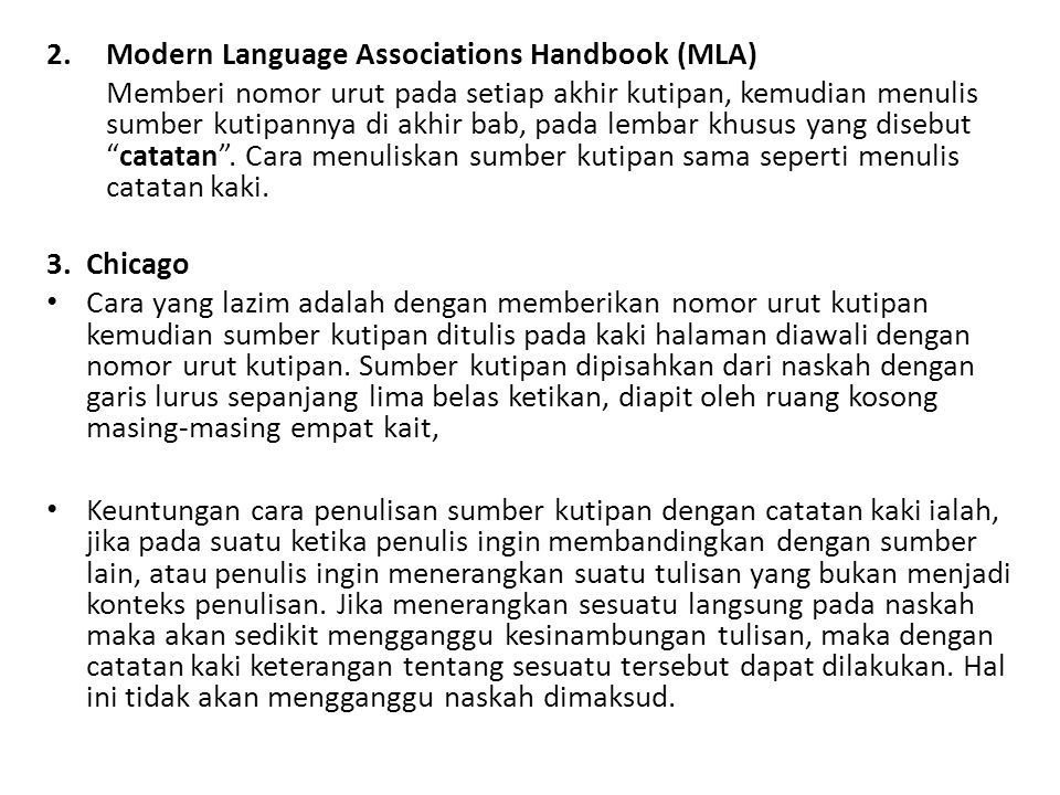 Modern Language Associations Handbook (MLA)