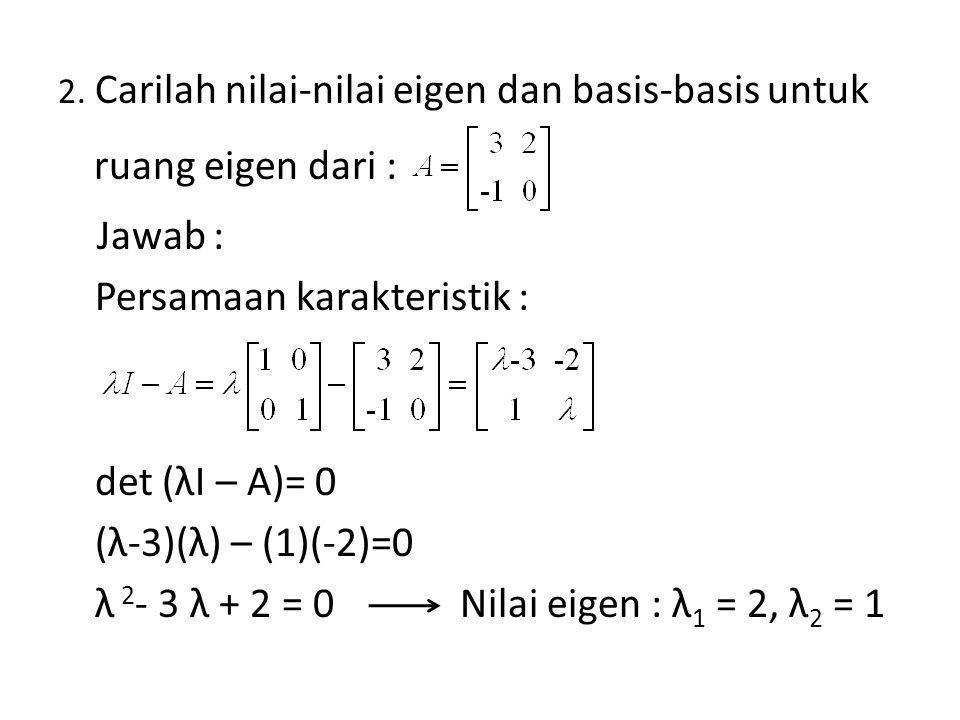 Persamaan karakteristik :