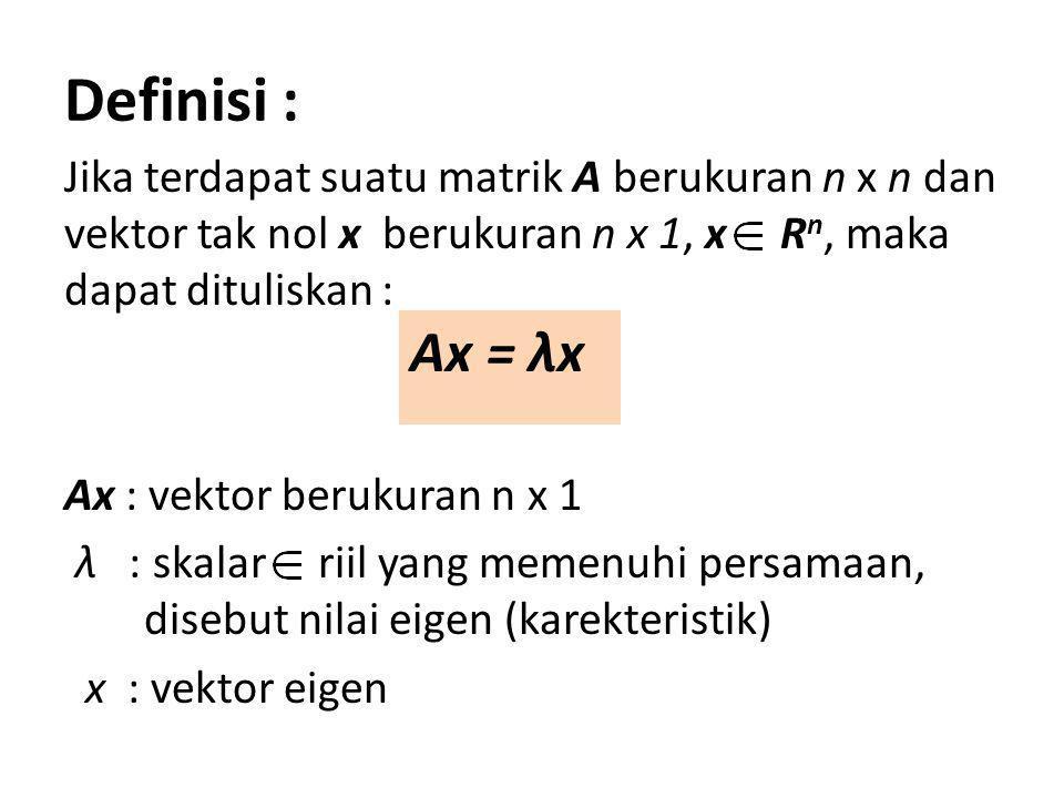 Definisi : Jika terdapat suatu matrik A berukuran n x n dan vektor tak nol x berukuran n x 1, x Rn, maka dapat dituliskan :