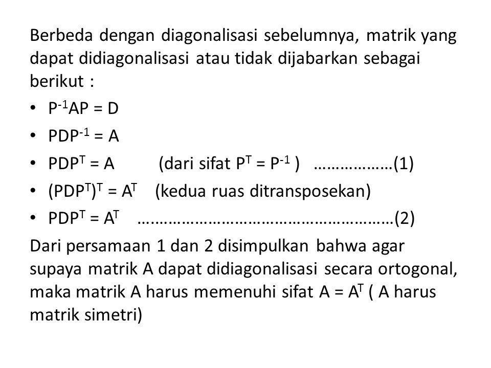 Berbeda dengan diagonalisasi sebelumnya, matrik yang dapat didiagonalisasi atau tidak dijabarkan sebagai berikut :