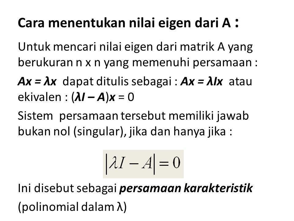 Cara menentukan nilai eigen dari A :