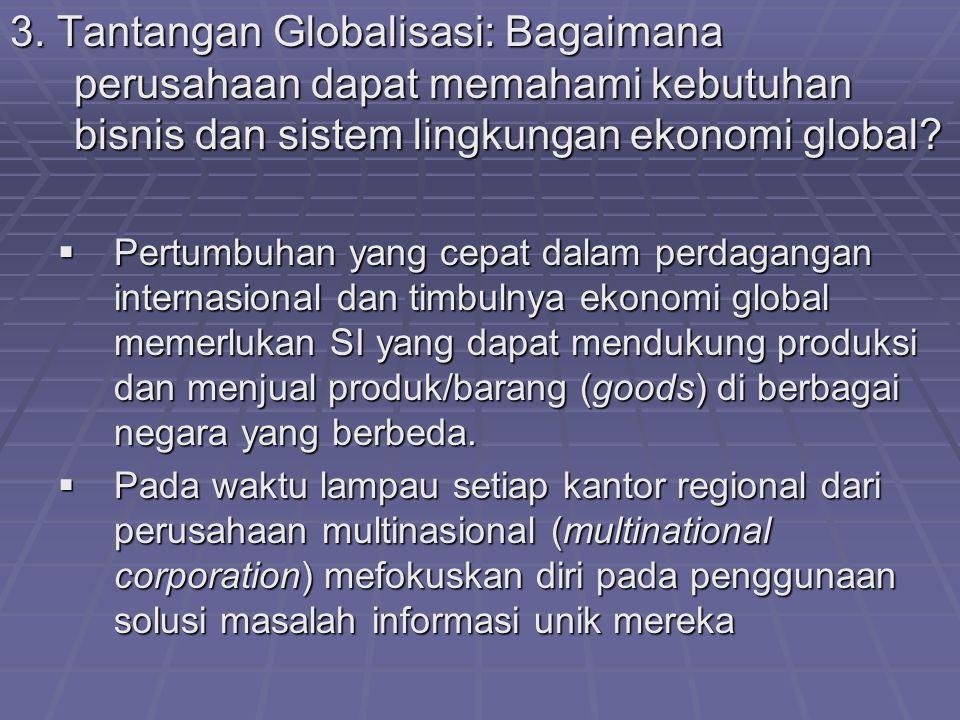 3. Tantangan Globalisasi: Bagaimana perusahaan dapat memahami kebutuhan bisnis dan sistem lingkungan ekonomi global