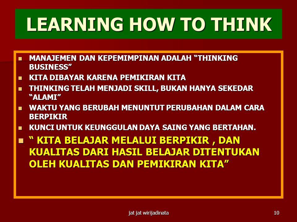 LEARNING HOW TO THINK MANAJEMEN DAN KEPEMIMPINAN ADALAH THINKING BUSINESS KITA DIBAYAR KARENA PEMIKIRAN KITA.