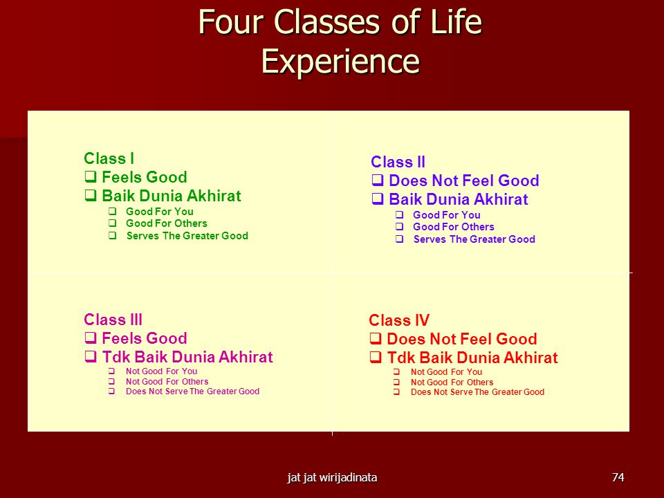 Four Classes of Life Experience