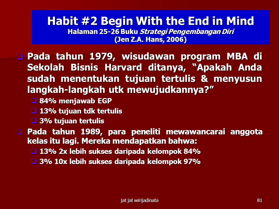 Habit #2 Begin With the End in Mind Halaman 25-26 Buku Strategi Pengembangan Diri (Jen Z.A. Hans, 2006)