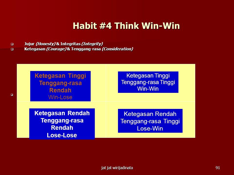 Habit #4 Think Win-Win Ketegasan Tinggi Tenggang-rasa Rendah
