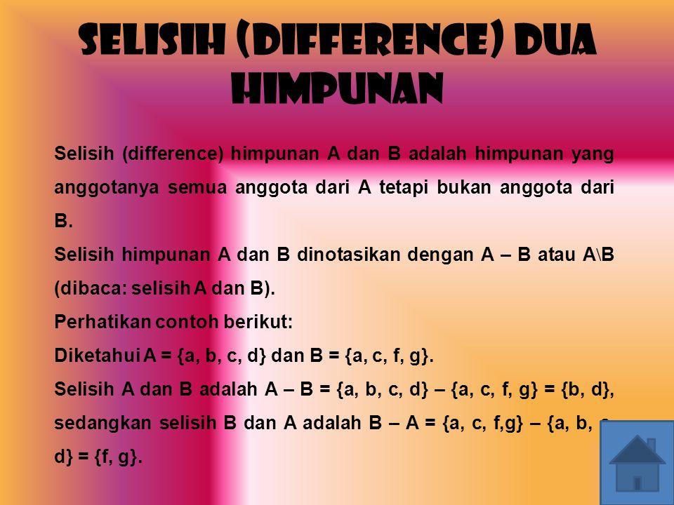 Selisih (Difference) Dua Himpunan