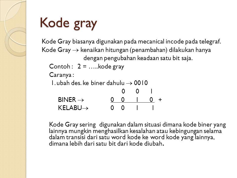 Kode gray Kode Gray biasanya digunakan pada mecanical incode pada telegraf. Kode Gray  kenaikan hitungan (penambahan) dilakukan hanya.