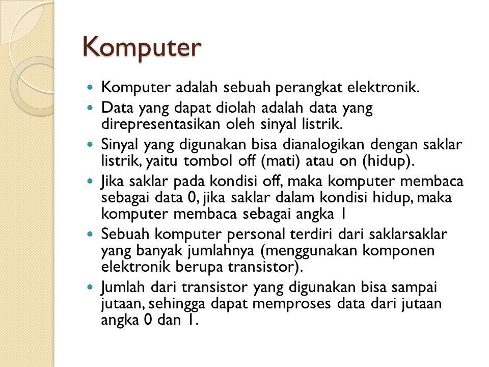 Komputer Komputer adalah sebuah perangkat elektronik.