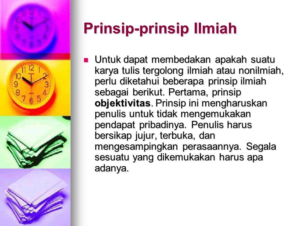 Prinsip-prinsip Ilmiah