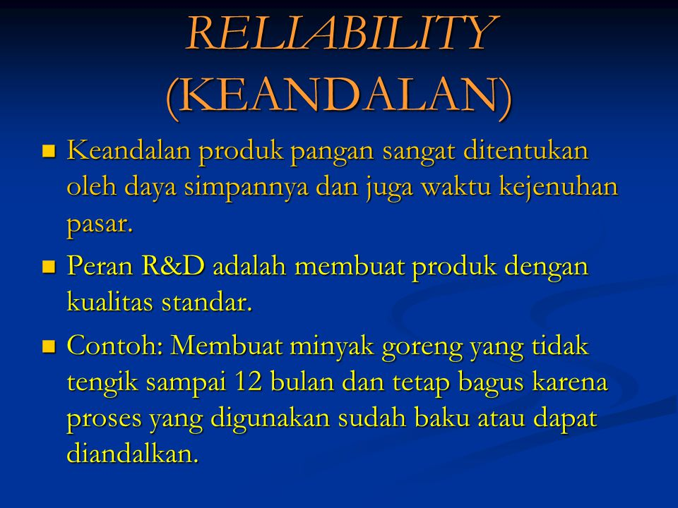 RELIABILITY (KEANDALAN)