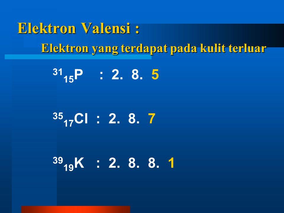 Elektron Valensi : Elektron yang terdapat pada kulit terluar