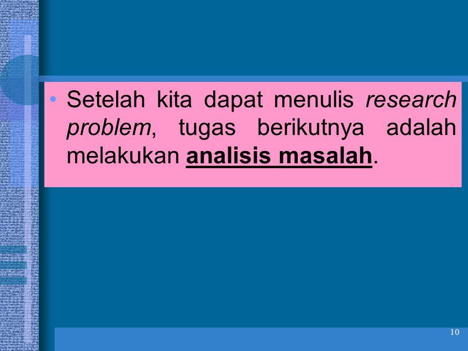 Setelah kita dapat menulis research problem, tugas berikutnya adalah melakukan analisis masalah.
