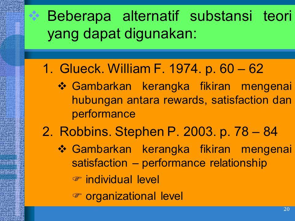 Beberapa alternatif substansi teori yang dapat digunakan: