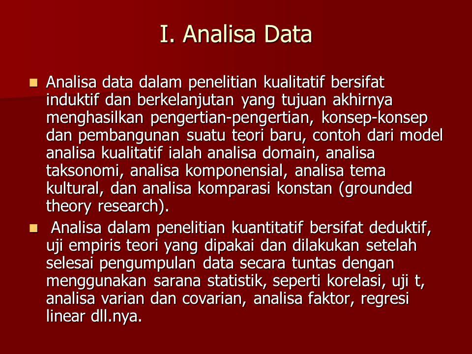 I. Analisa Data