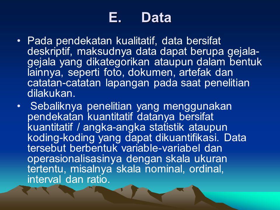 E. Data