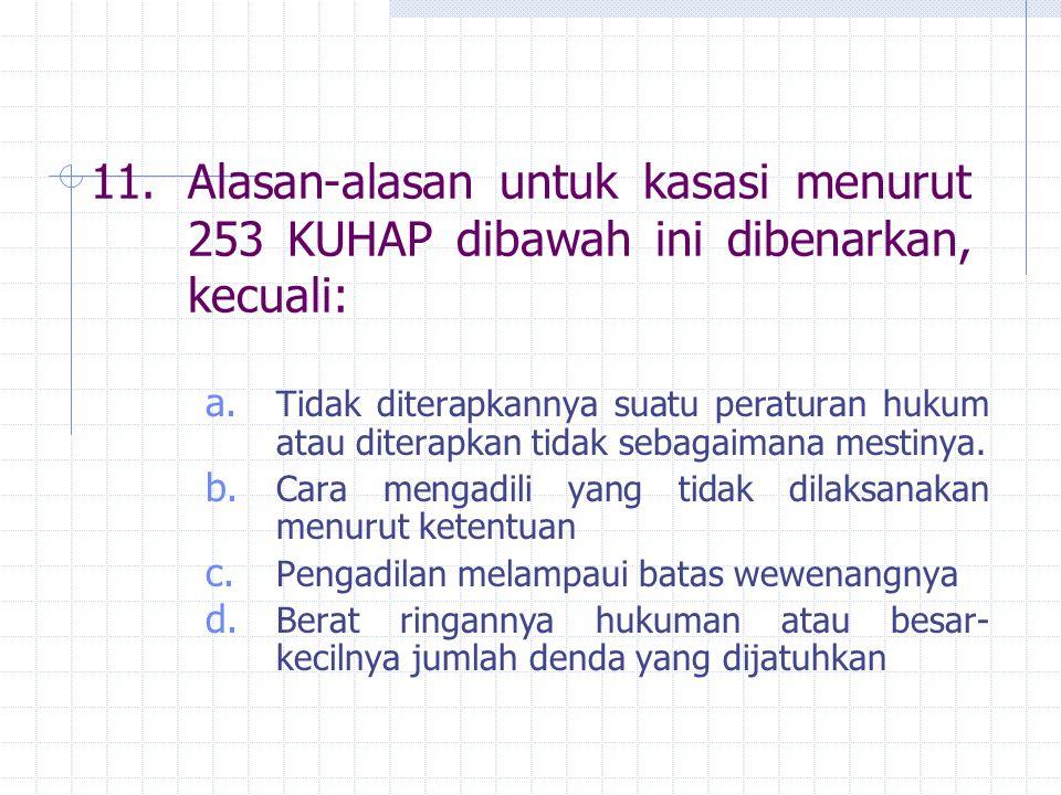 11. Alasan-alasan untuk kasasi menurut 253 KUHAP dibawah ini dibenarkan, kecuali: