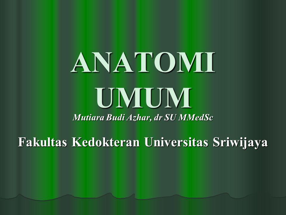 ANATOMI UMUM Mutiara Budi Azhar, dr SU MMedSc Fakultas Kedokteran Universitas Sriwijaya