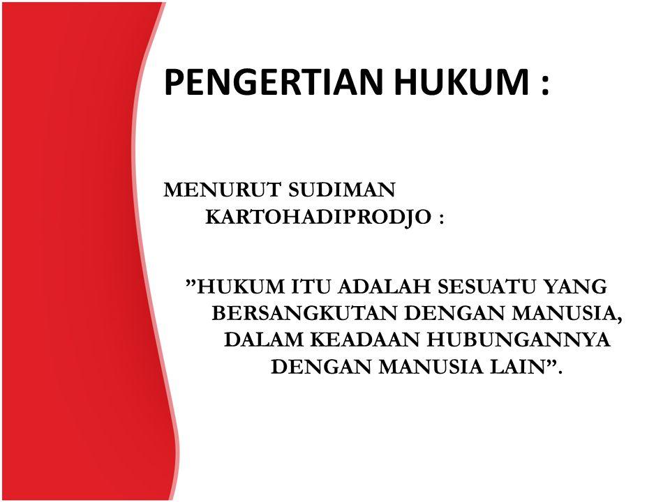 PENGERTIAN HUKUM :
