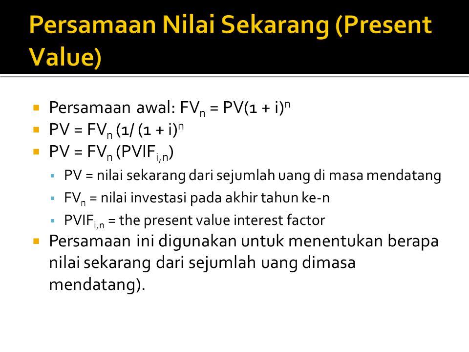 Persamaan Nilai Sekarang (Present Value)