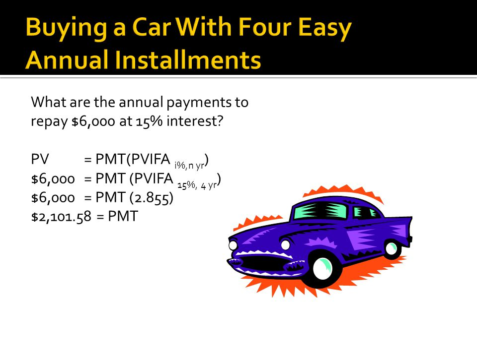 Buying a Car With Four Easy Annual Installments