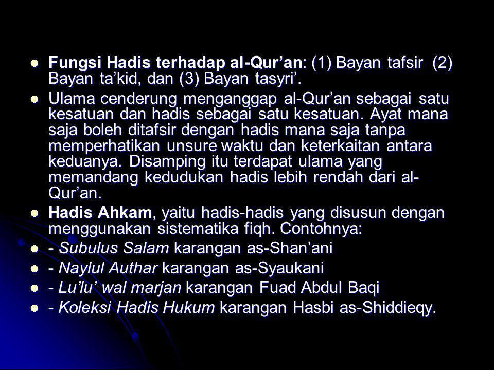 Fungsi Hadis terhadap al-Qur'an: (1) Bayan tafsir (2) Bayan ta'kid, dan (3) Bayan tasyri'.