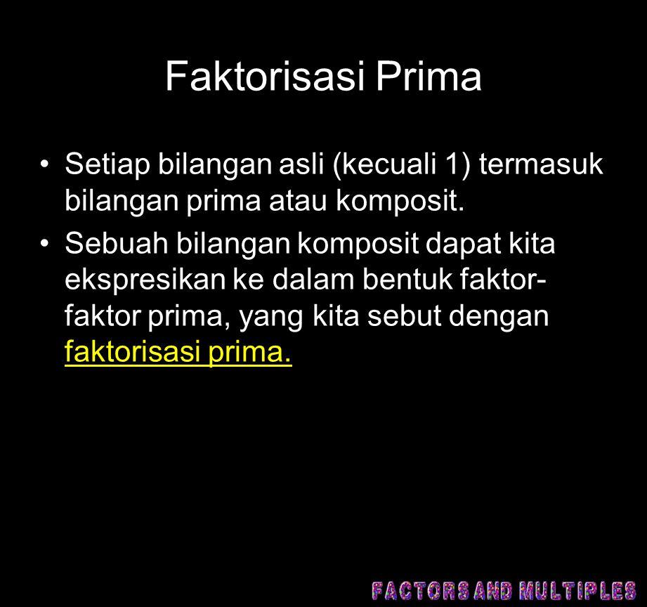 Faktorisasi Prima Setiap bilangan asli (kecuali 1) termasuk bilangan prima atau komposit.