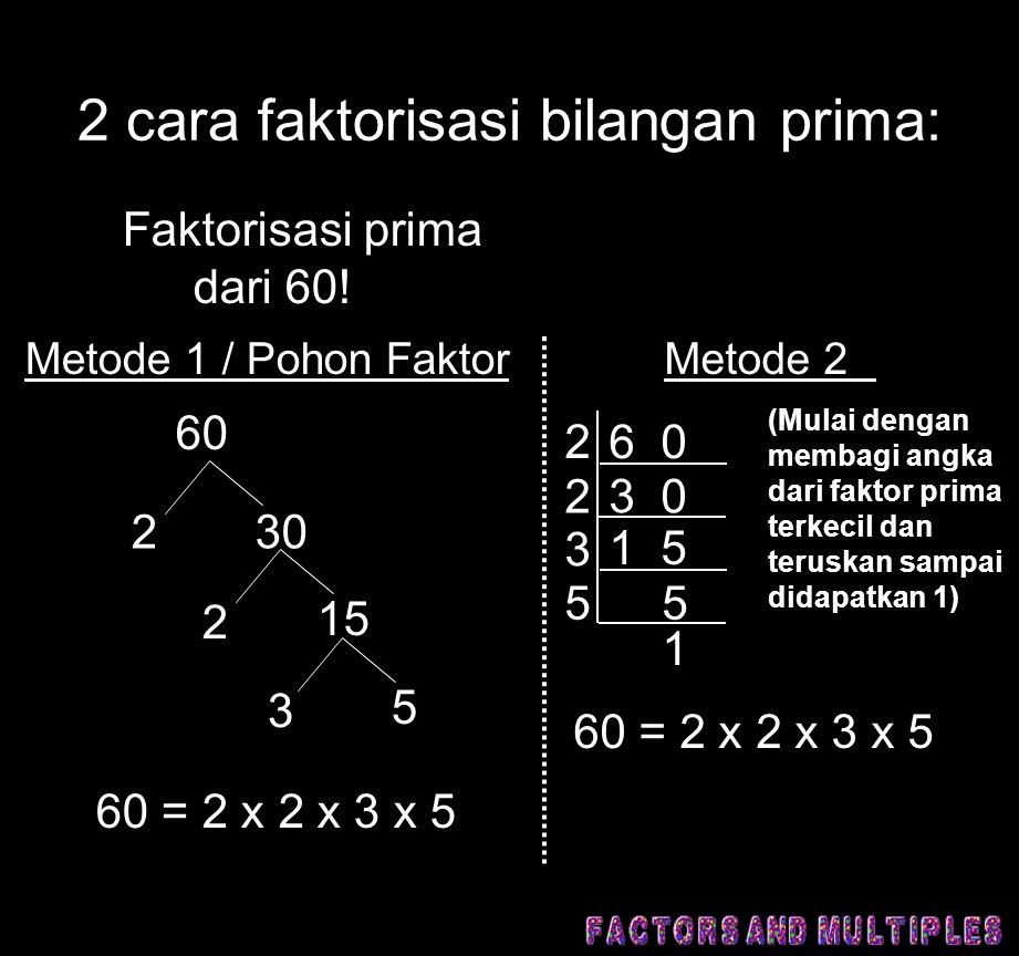 2 cara faktorisasi bilangan prima: