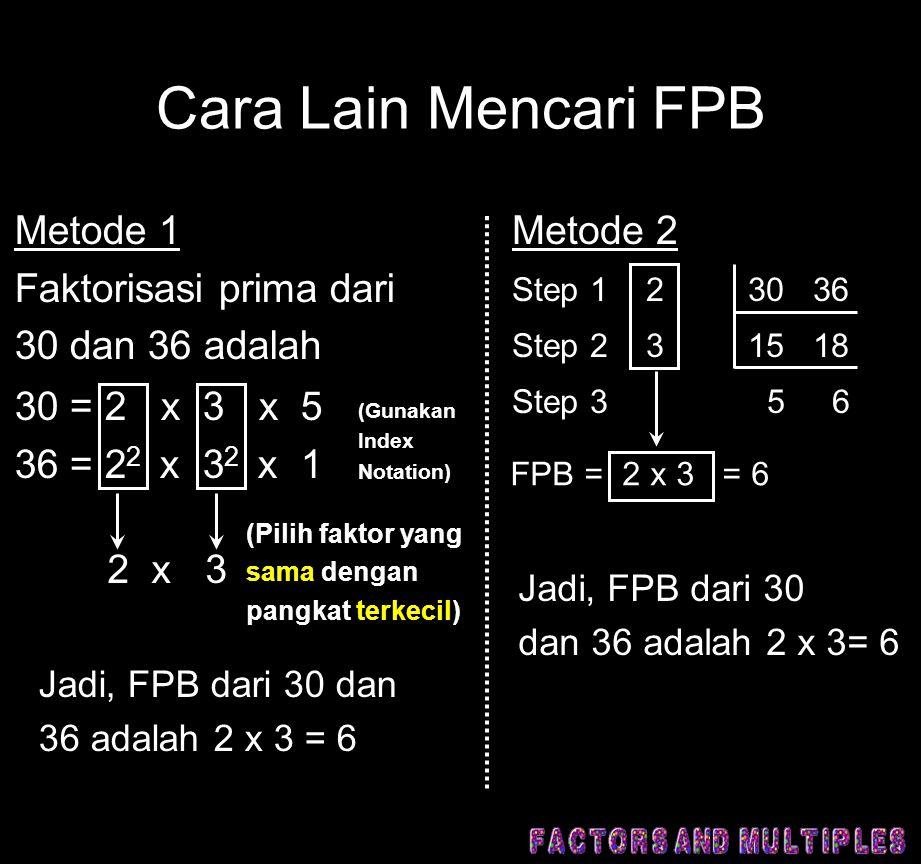 Cara Lain Mencari FPB Metode 1 Faktorisasi prima dari 30 dan 36 adalah