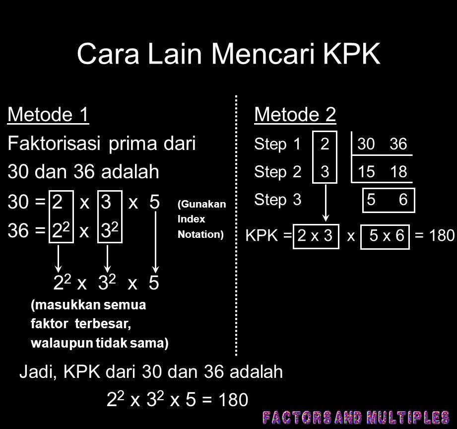 Cara Lain Mencari KPK Metode 1 Faktorisasi prima dari 30 dan 36 adalah