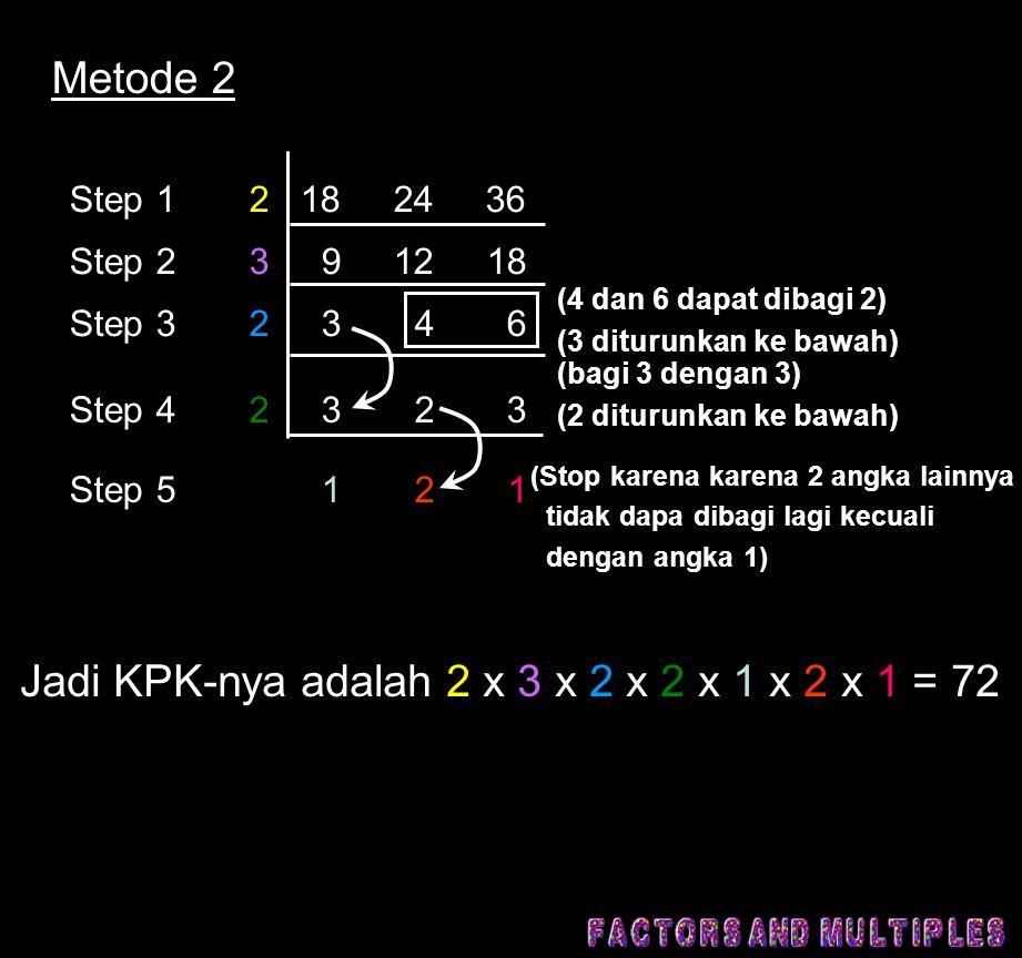 Jadi KPK-nya adalah 2 x 3 x 2 x 2 x 1 x 2 x 1 = 72