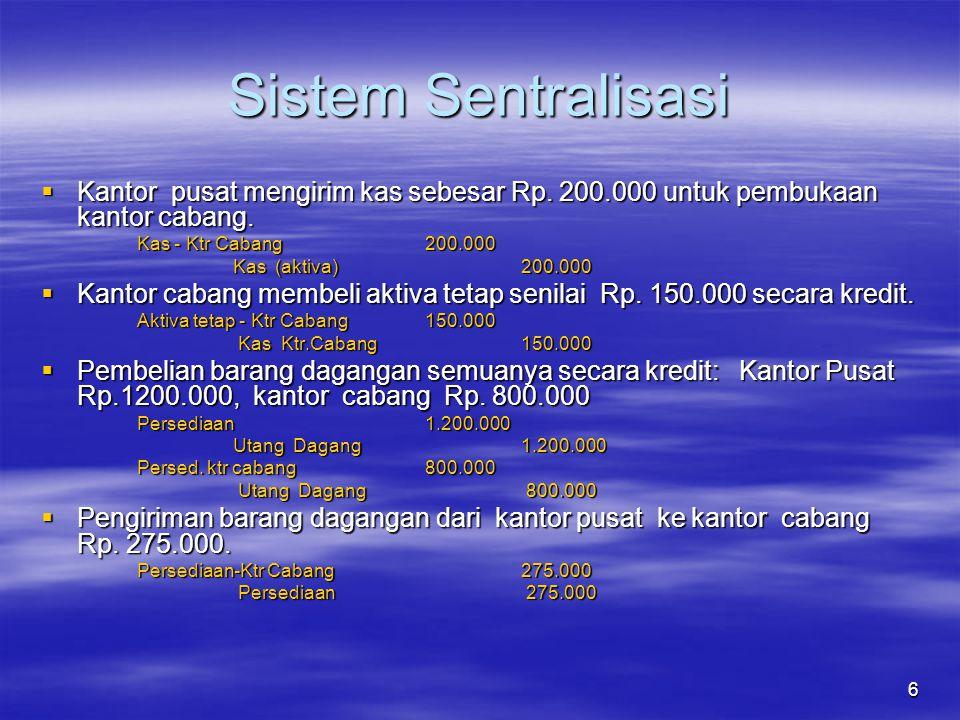 Sistem Sentralisasi Kantor pusat mengirim kas sebesar Rp. 200.000 untuk pembukaan kantor cabang. Kas - Ktr Cabang 200.000.