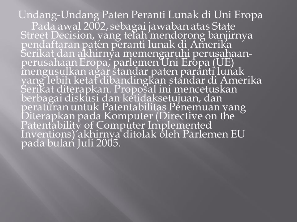 Undang-Undang Paten Peranti Lunak di Uni Eropa