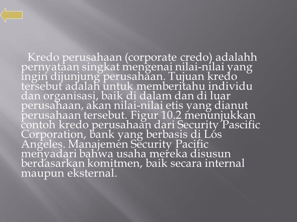 Kredo perusahaan (corporate credo) adalahh pernyataan singkat mengenai nilai-nilai yang ingin dijunjung perusahaan.