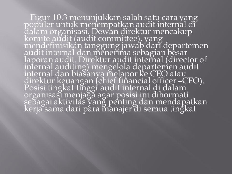 Figur 10.3 menunjukkan salah satu cara yang populer untuk menempatkan audit internal di dalam organisasi.