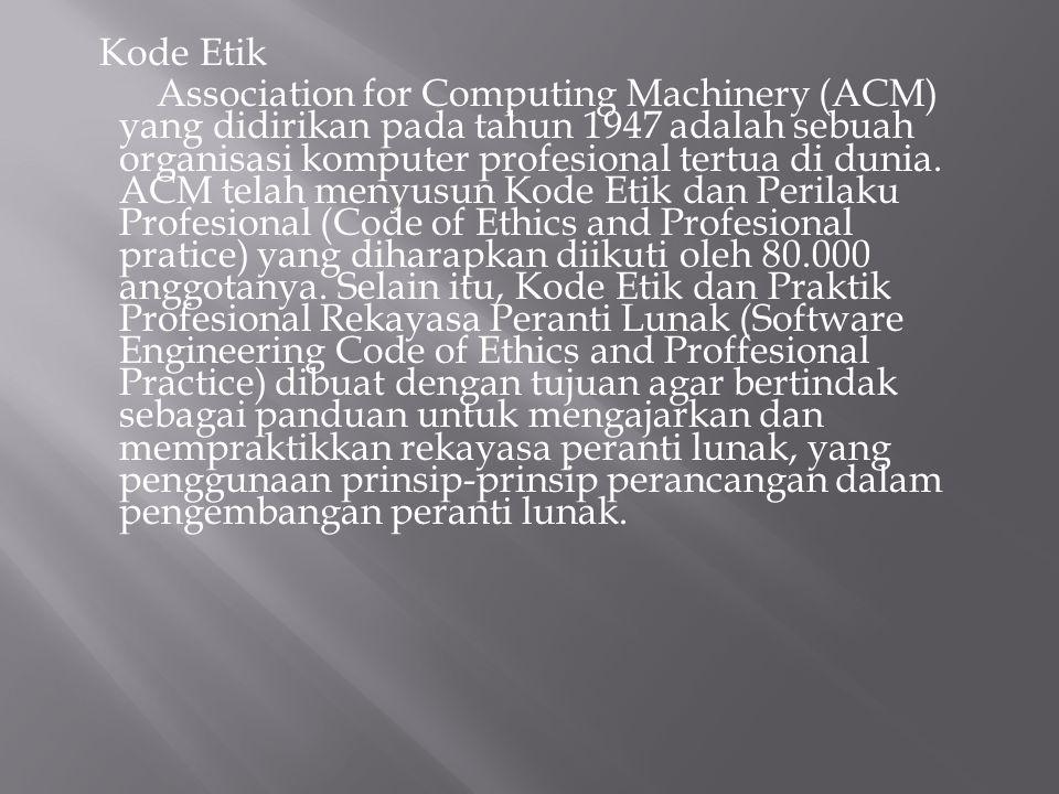 Kode Etik Association for Computing Machinery (ACM) yang didirikan pada tahun 1947 adalah sebuah organisasi komputer profesional tertua di dunia.