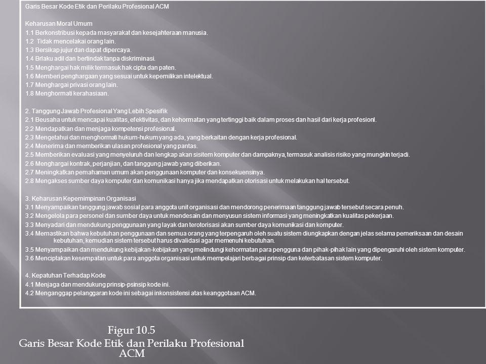 Figur 10.5 Garis Besar Kode Etik dan Perilaku Profesional ACM
